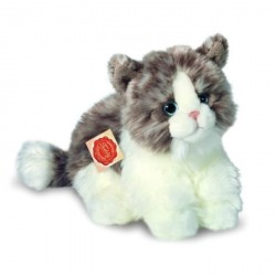 Peluche chat gris assis 23 cm