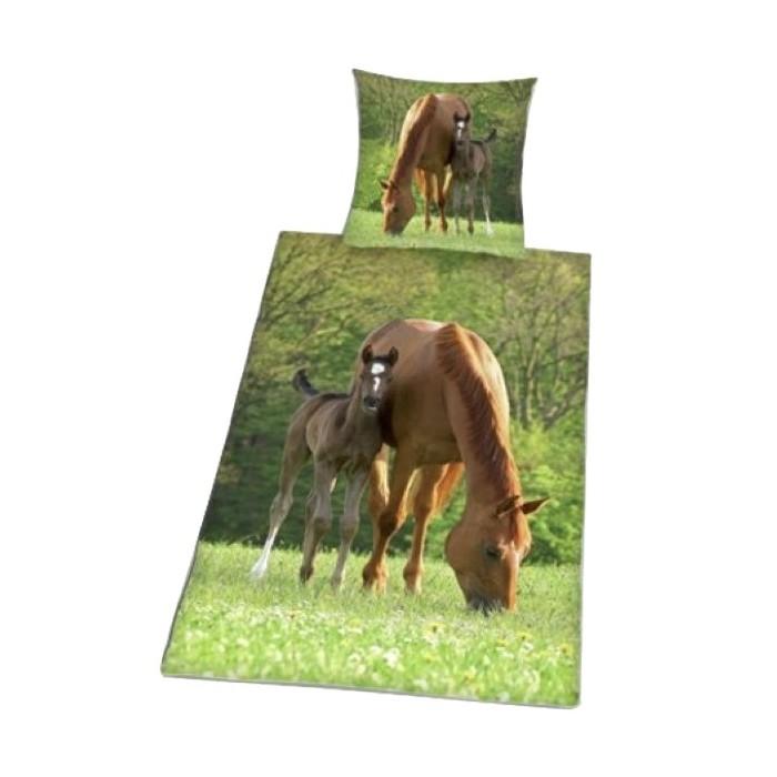 housse de couette cheval - parure de lit enfant motif cheval