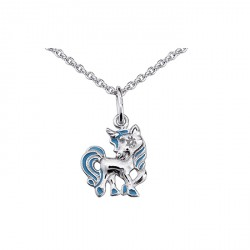 Collier Cheval argent - bleu