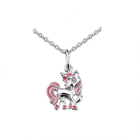 Collier Cheval argent - rose