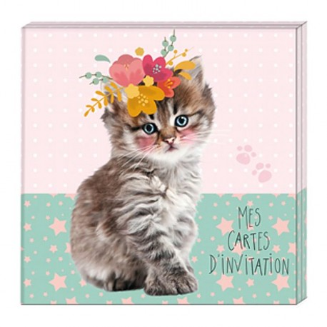 Cartes d'invitation Chat Sweet Kitten et stickers