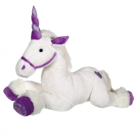 Grande licorne blanche et violet 60 cm
