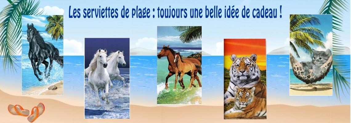 Draps de plage décor cheval et animaux